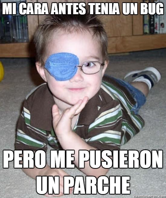 bug,en el ojo,niño,parche,por encima de las gafas?