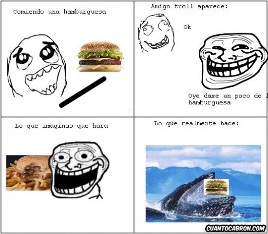 Trollface - Cuando comes una hamburguesa, no peques de generoso...