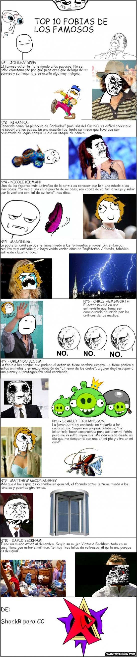 Mix - Las celebridades también tienen sus fobias, ¡aquí hay algunas de ellas!