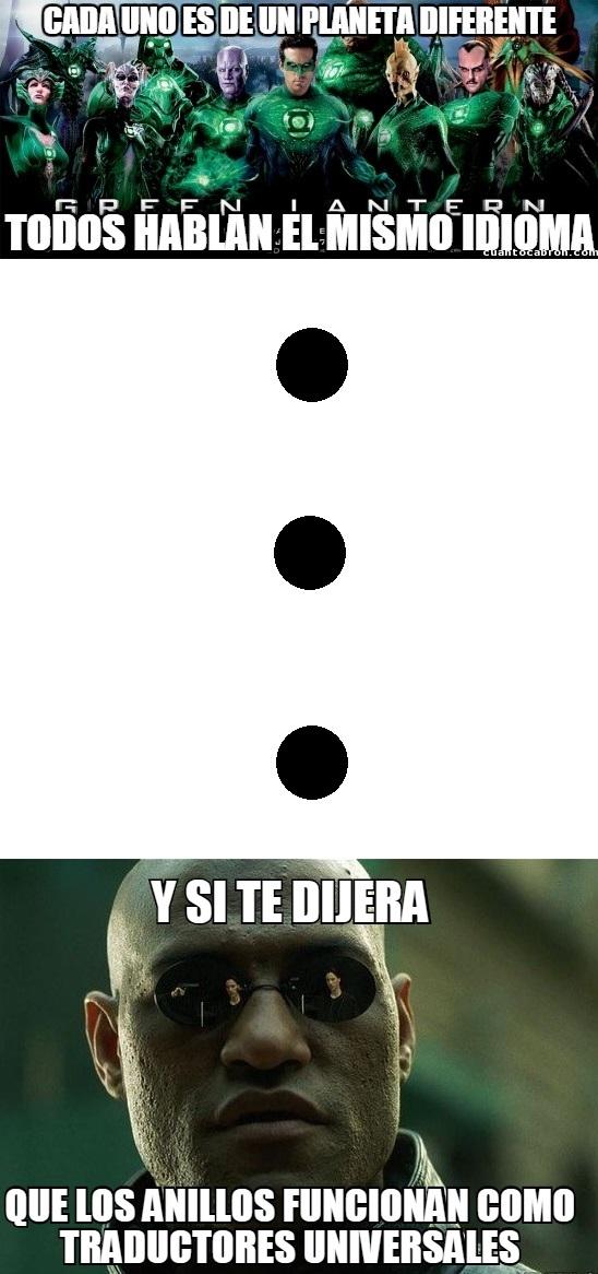 Meme_otros - La explicación al idioma común de los linternas verdes