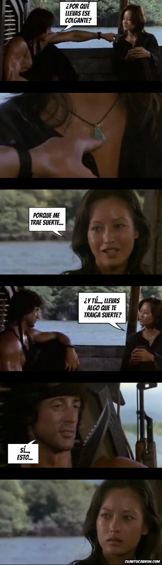 Otros - Rambo y su peculiar forma de impresionar a las mujeres