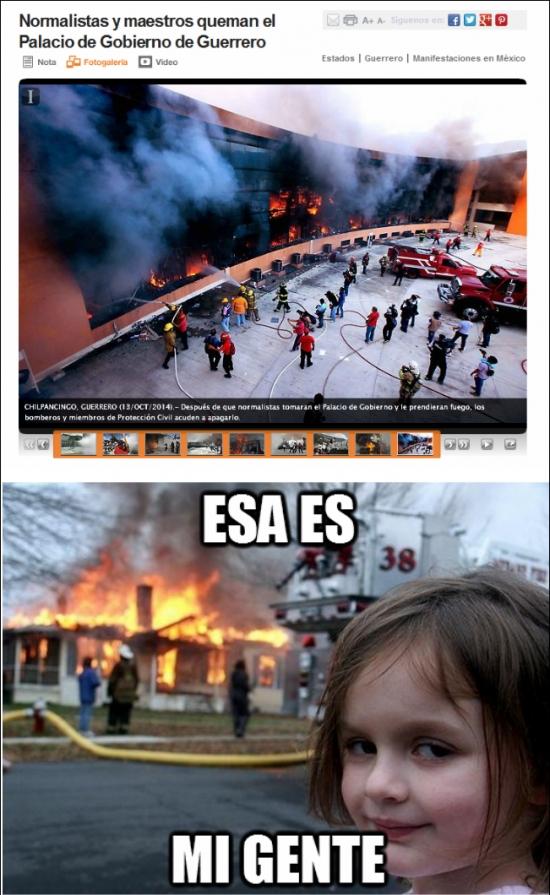 disaster girl,guerrero,manifestantes,mexico,normalistas,quemar