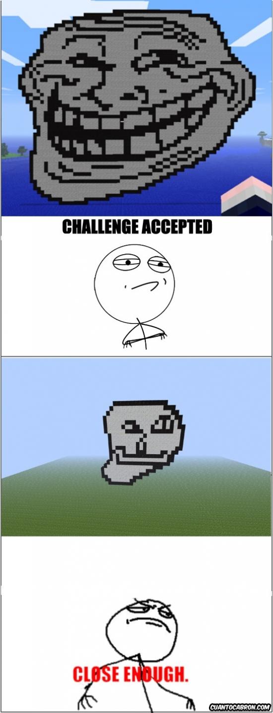 Challenge_accepted - Hacer un trollface en minecraft no es tan fácil como te esperabas