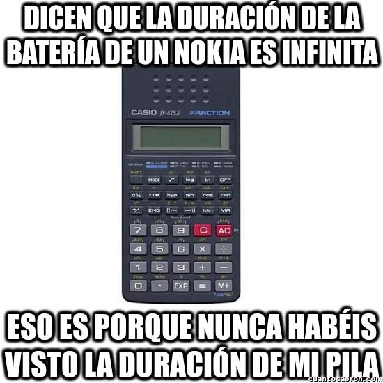 batería,calculadora,Casio,duran eternamente,Nokia,pila