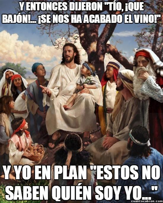 acabar,agua,convertir,Dios,don´t stop the party,explicar,fiesta,historia,Jesús,que no para la fiesta,vino