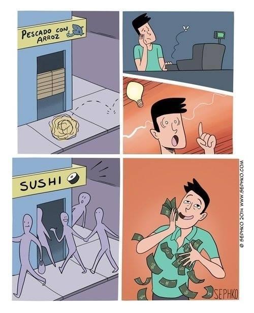 billetes,con un nombre atractivo todo gana,millonario,pescado con arroz,sushi