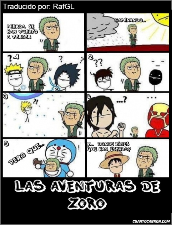 animes varios,doraemon,dragon ball,naruto,one piece,perderse,shingeki no kyojin,zoro