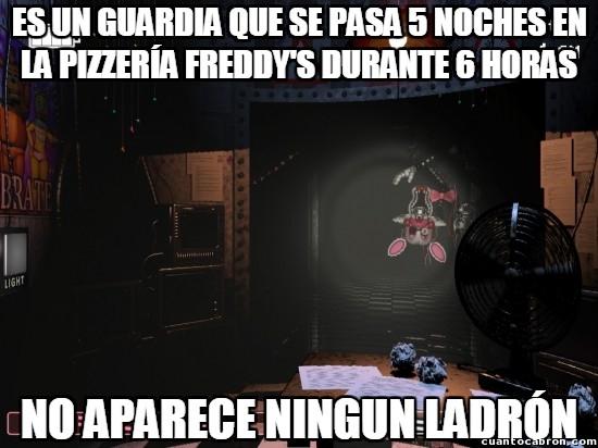 Meme_otros - ¿Soy yo o el guardia de Five Nights at Freddy's no es necesario en absoluto?