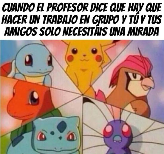 amigos,bulbasaur,butterfree,charmander,equipos,mirarse,pidgeotto,pikachu,pokemon,profesor,squirtle