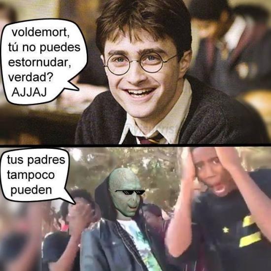 Meme_otros - No te rías de la nariz de Voldemort, te la devolverá