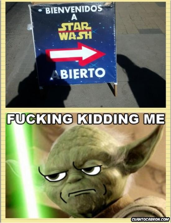 Kidding_me - A Yoda no le gusta mucho este túnel de lavado de coches