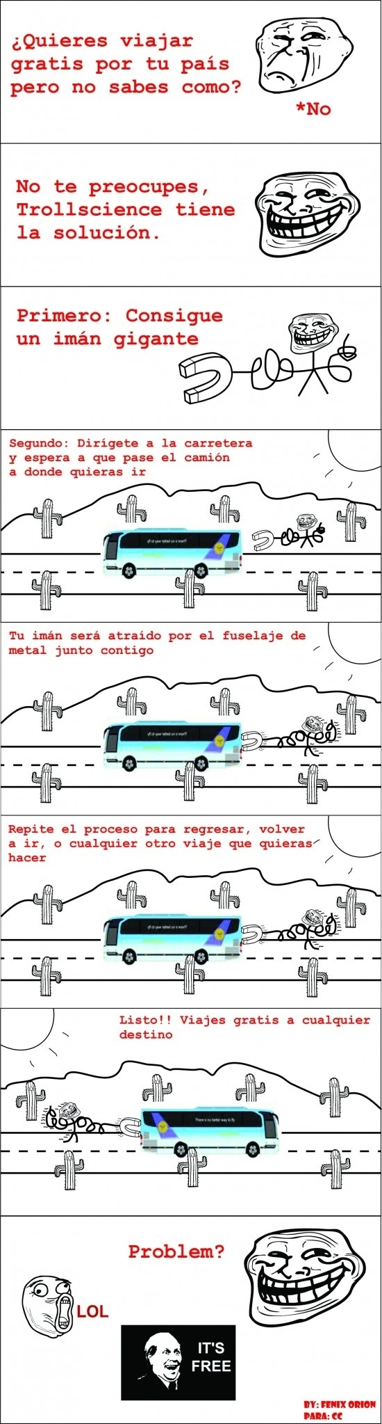 Trollface - Viajando gratis con Trollscience