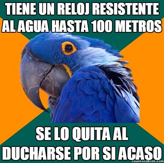 Loro_paranoico - Waterproof resistant, 100m. Ya, ya, pero nunca se sabe...