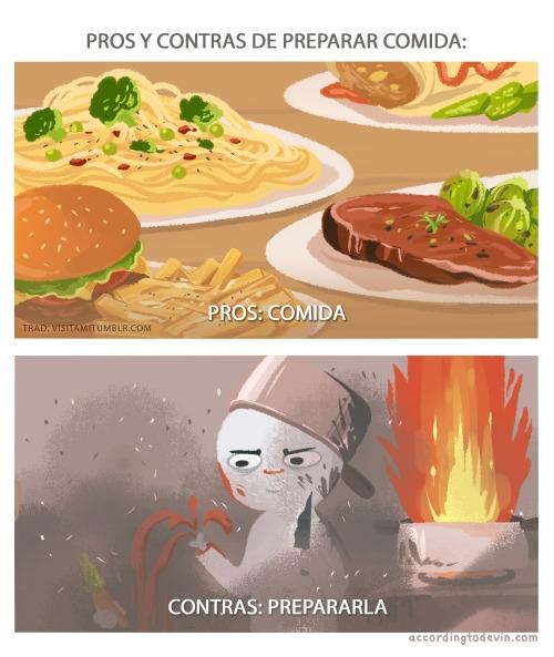 Otros - Cocinar tiene sus pros y sus contras