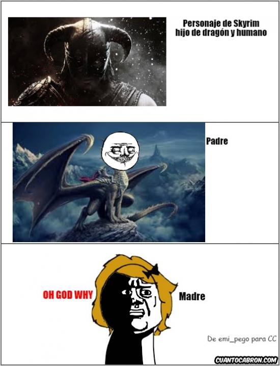 Oh_god_why - Personaje de Skyrim: dragón y humano