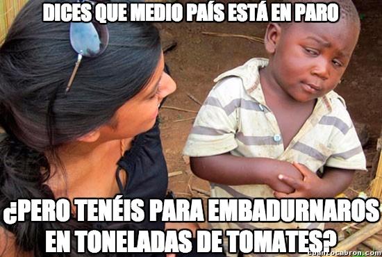 Esceptico_nino_negro - ¿Alguien le encuentra el sentido a la Tomatina?