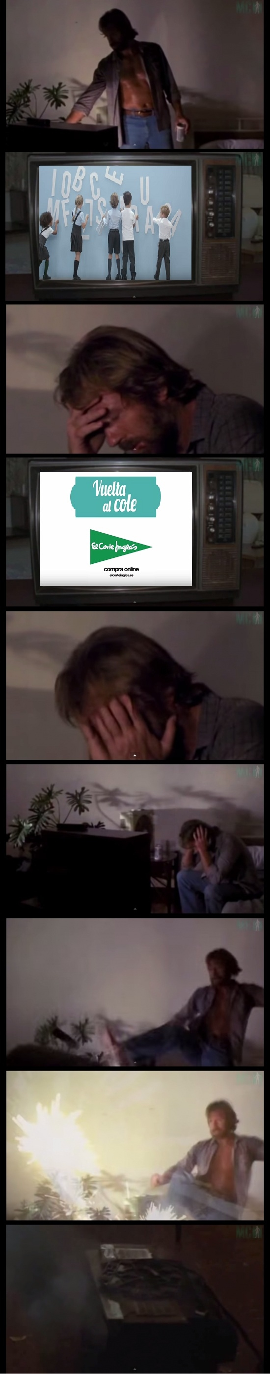 Otros - El anuncio de la vuelta al cole tampoco le gusta a Chuck Norris, le debe traer malos recuerdos...