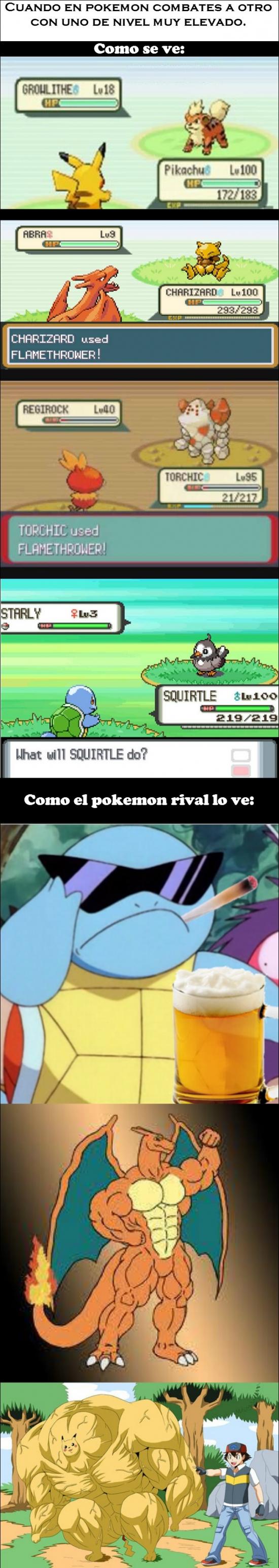 Otros - Cuando usas un Pokémon con nivel elevado contra uno de bajo nivel