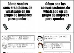 Enlace a Diferencias entre las conversaciones de Whatsapp en un grupo de hombres y de mujeres
