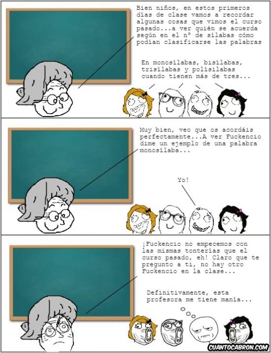 Kidding_me - Cuando una profesora te tiene manía, aunque des una respuesta correcta siempre la malinterpretará