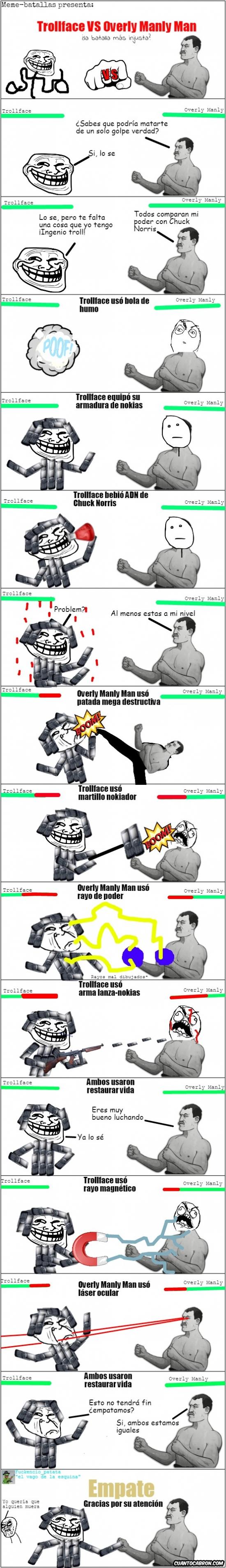 Trollface - Trollface vs... ¿¡Overly Manly Man!? ¿Será una batalla muy injusta?