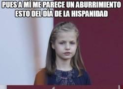 Enlace a El meme ''Lluvia de espadas'', versión princesa Leonor el día de la hispanidad
