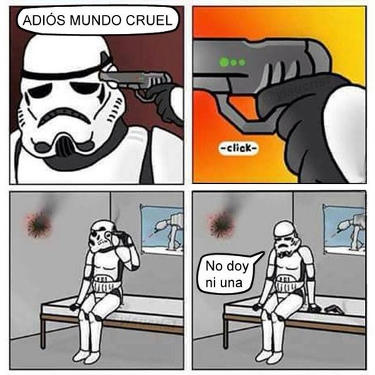 disparo,fail,mala puntería,no acertar,Star Wars,Stormtrooper,suicidio