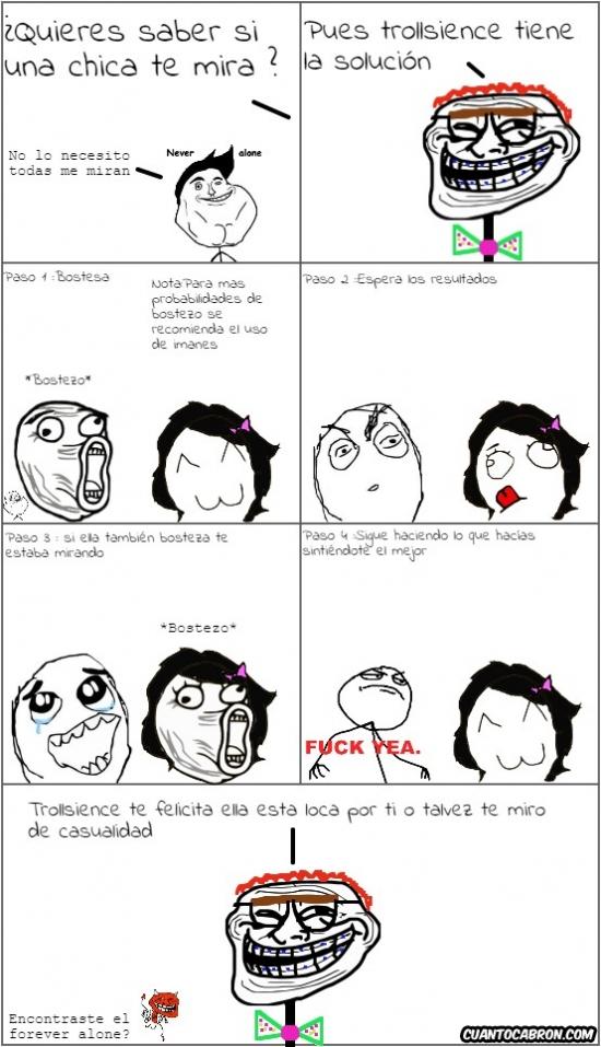 Trollface - Pasos para saber si una chica te está mirando