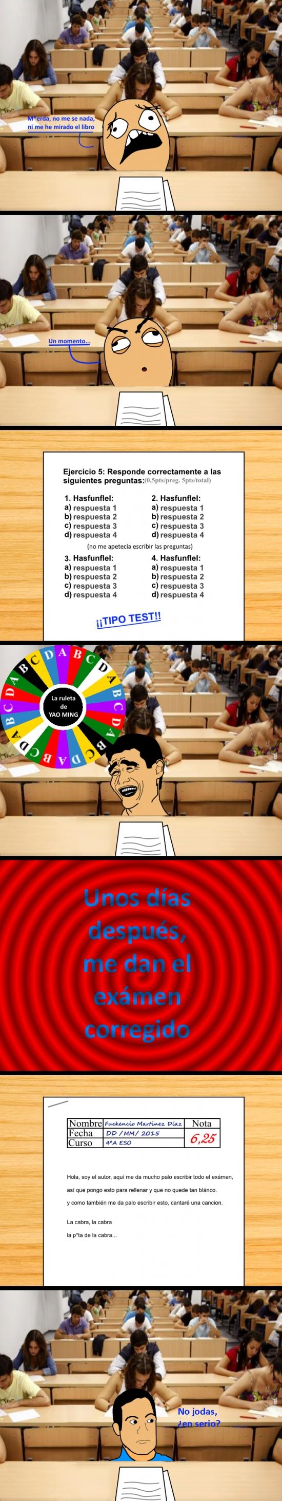 a suerte,aprobado,clase,estudiar,examen,me lo invento