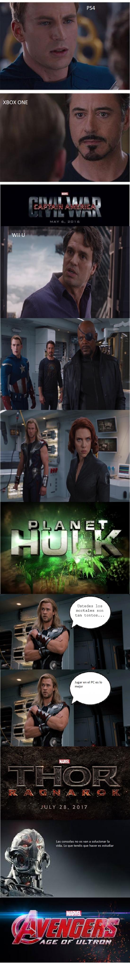 Meme_otros - La guerra de las consolas con los personajes de Marvel