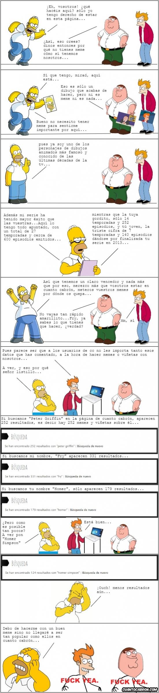 Otros - La dura rivalidad entre Homer, Peter Griffin y Fry para ser el más popular