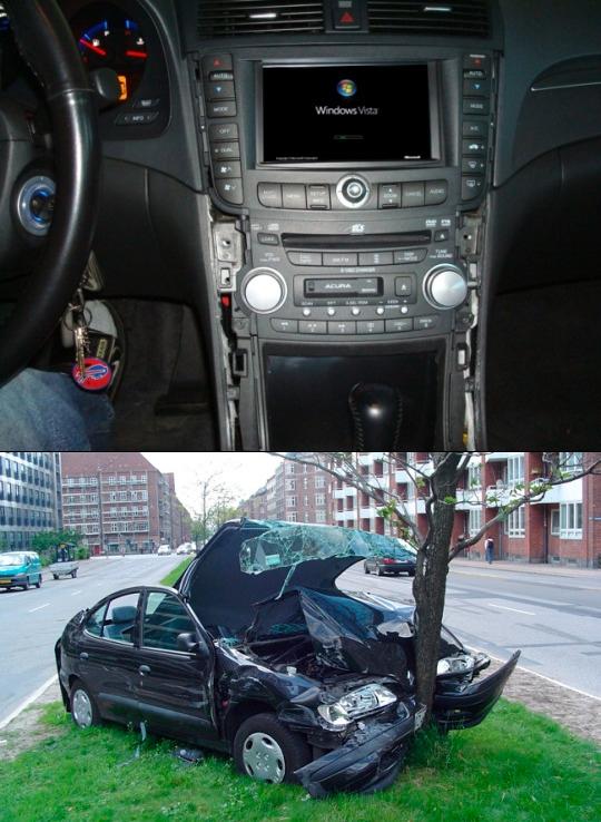 Meme_otros - Los peligros de usar Windows Vista en el coche