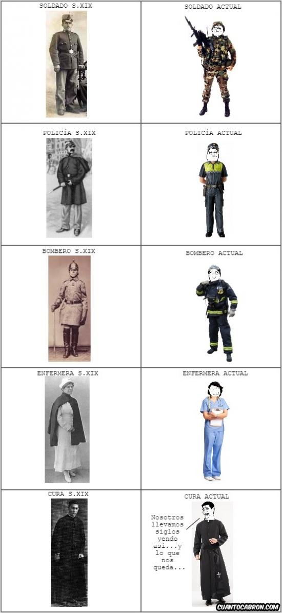 Mix - Cómo han cambiado los uniformes de algunas profesiones y ocupaciones, aunque algunas no tanto...