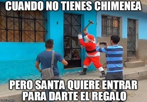 Chimenea,Derribar,Loco,Martillo,Navidad,Pan,Puerta,Tirar abajo