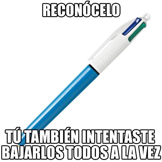 Meme_otros - La tontería de los bolígrafos con varios colores que todos hemos intentado alguna vez