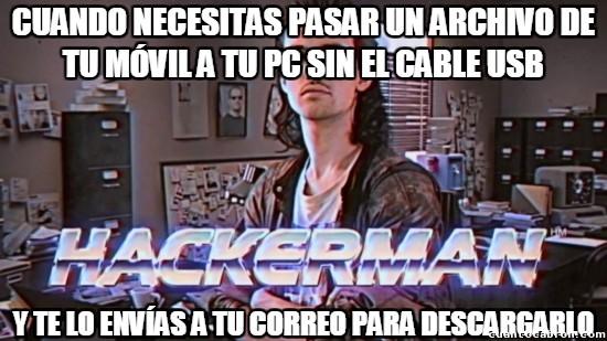 Meme_otros - Cuando no tienes cable USB, Bluetooth ni infrarrojo que te salve la vida...