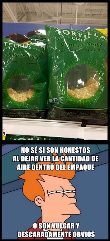 Meme_fry - Y por eso todas las bolsas de patatas son opacas
