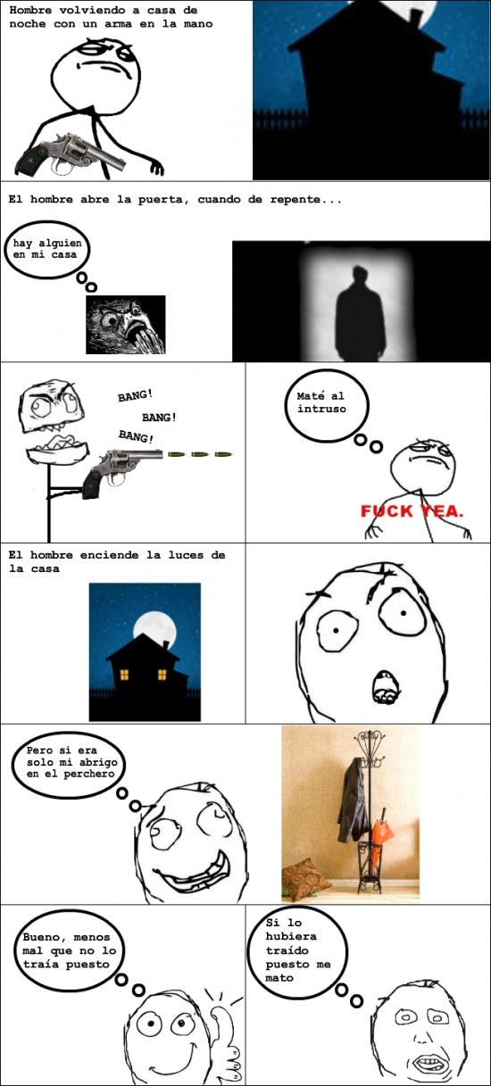 Retarded - Hombre volviendo a casa de noche con un arma en la mano...