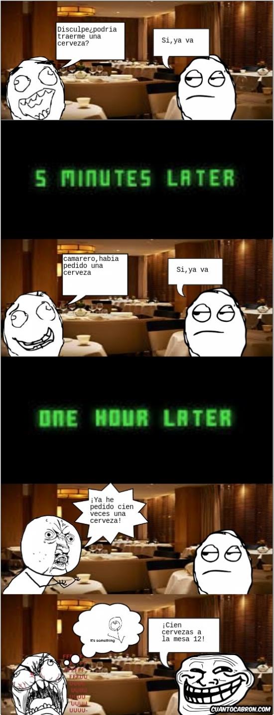 Trollface - El camarero siempre tiene el control de la situación