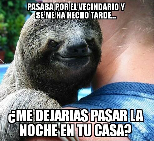 casa,dormir,hospedar,malvado,noche,pasar,peresozo,sloth