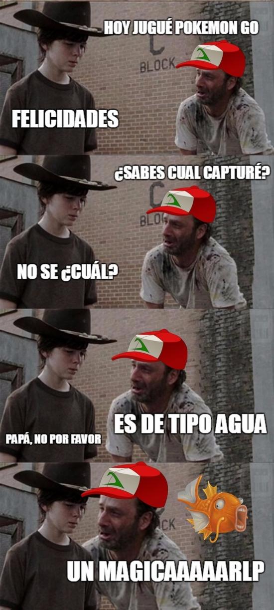 Meme_otros - Rick siempre troleando a Carl, ahora con Pokémon Go