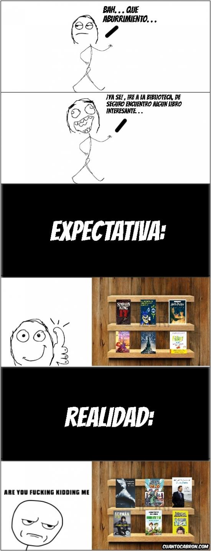 Kidding_me - Buscar libros en la biblioteca, expectativa vs realidad