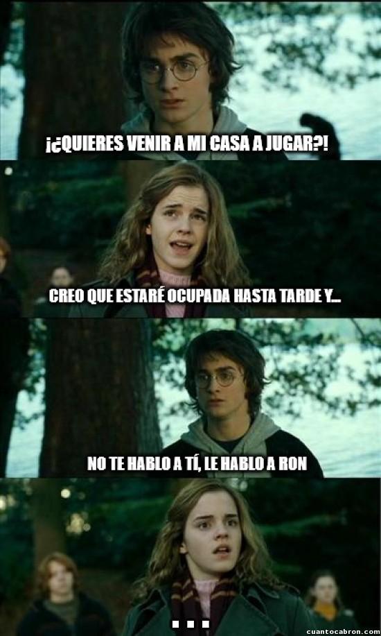 Meme_otros - Harry aprendiendo a trolear a Hermione