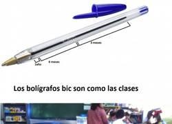 Enlace a La relación de los bolígrafos bic y las clases