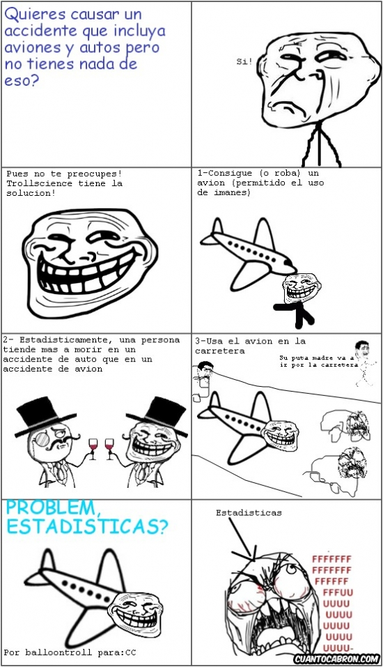 Trollface - Accidentes de aviones y autos, con Trollscience!