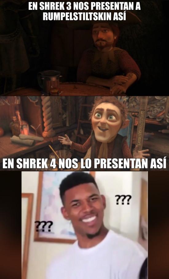 Meme_otros - Menudo cambio de imagen de Rumpelstiltskin en Shrek