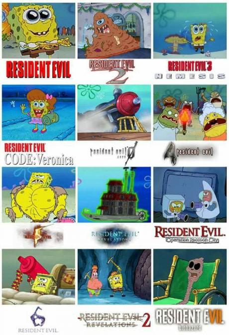 Meme_otros - Bob Esponja y Resident Evil