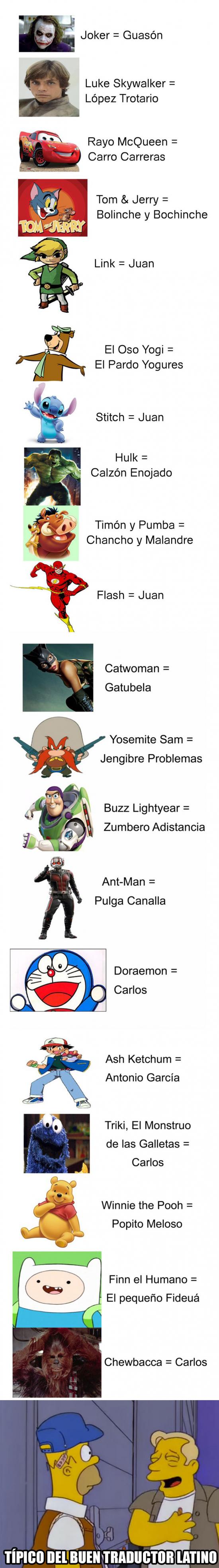 Otros - Latinoamérica y las traducciones de algunos personajes famosos