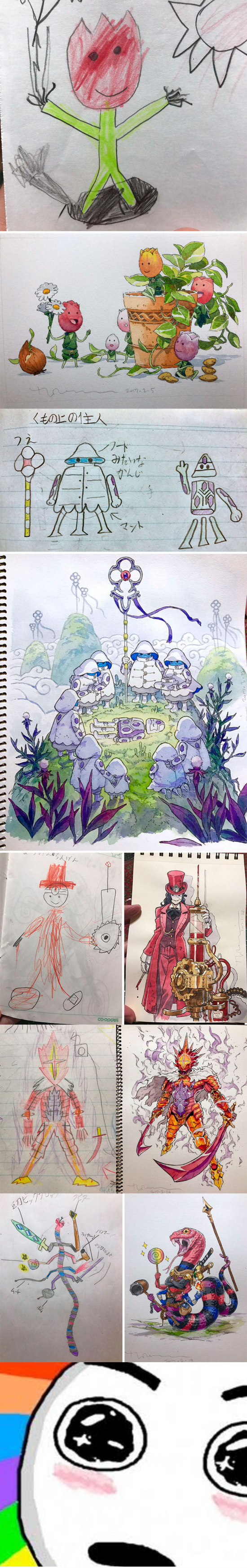 Meme_otros - Este padre convierte los dibujos que hacen sus hijos en obras de arte