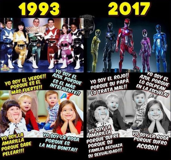 Meme_otros - Vaya cambios tienen los Power Rangers de hoy con los de antes